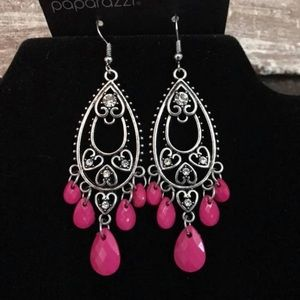 Hot Pink and Silver Earrings with Rhinestones